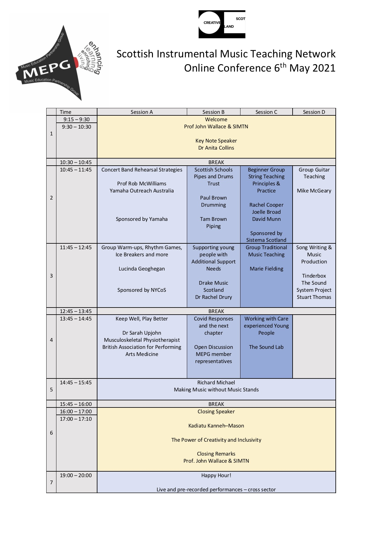 SIMTN Conference Schedule